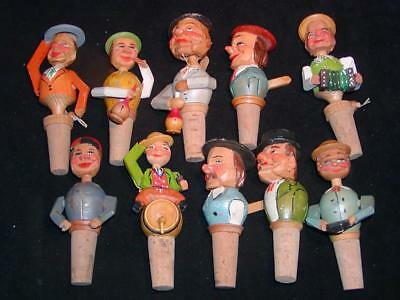 10 Antique CARVED WOOD FIGURAL BOTTLE STOPPERS - w/ Moveable Parts. Italian Made