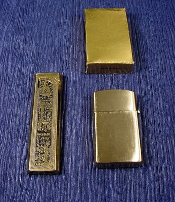 2 Vintage Gold-Tone Lighters Flamex And LDL In Original Box Japan