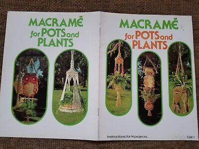 vtg 1977 MACRAME pots plant pattern double hanger hanging table owl 14 projects