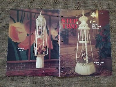 vtg 1980 Step Two Macrame 14 pattern Double Plant Hangers Hanging tables wall