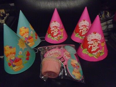 Mixed Lot Of Vintage 1980  Strawberry Shortcake Party Supplies Hats/blowers