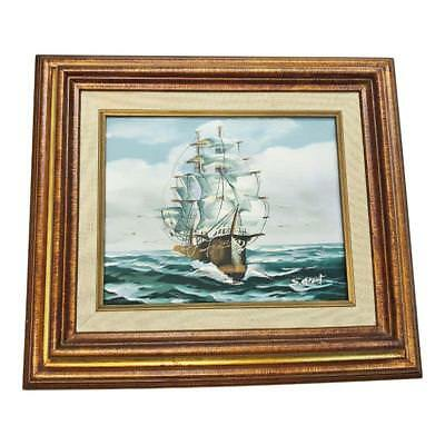 Vintage CLIPPER SHIP PAINTING Oil on Canvas framed wall art nautical maritime pa