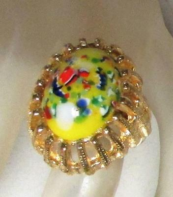 Vintage 60's Chunky Confetti Glass Bead Cocktail Adjustable Ring Multi Color