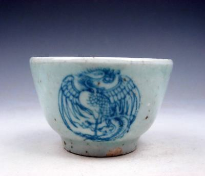 Antique Blue&White Porcelain Dancing Phoenix Peacocks Hand Painted Cup #10181707