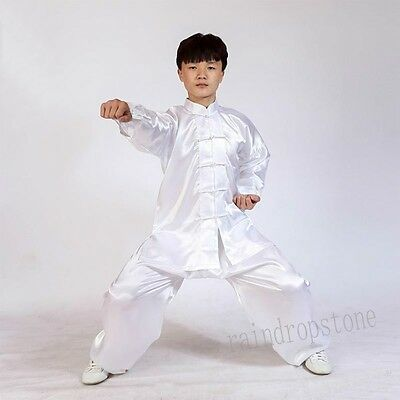 New Unisex Suits Uniform Tai chi Silk Blend Wushu Martial Arts Kung FU Excercise