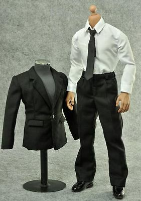 ZY Toys Men's Black Color Suit Full Set 1/6 Fit for 12inch action figure
