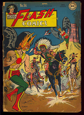 Flash Comics #94 Early Black Canary Unrestored Golden Age Hawkman DC 1948 FR-GD