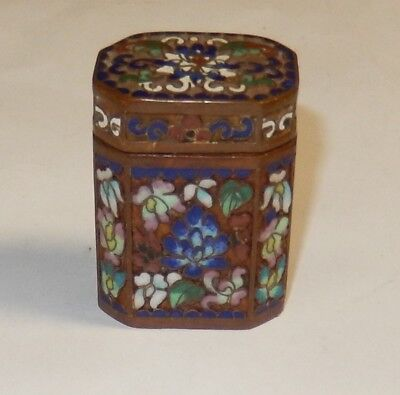 Old 19Th Century Cloisonne Floral Open Enamel Opium Canister Jar Box