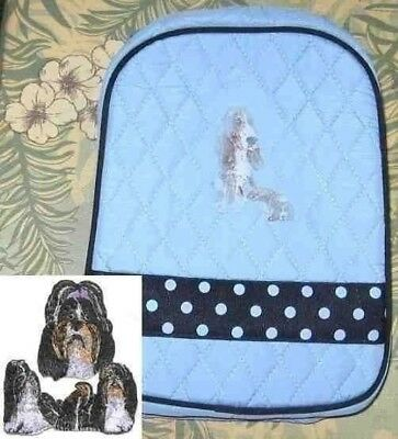 Quilted Fabric Lunch Bag SHIH TZU Dog Breed PALE BLUE Insulated Lunch Sack