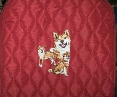 Quilted Fabric Lunch Bag SHIBA INU Dog Breed MAROON Insulated Lunch Sack
