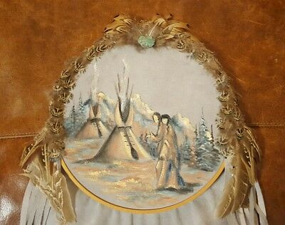 Cherokee Sue and Dale Weaver Painting on Suede Dreamcatcher Native American Art