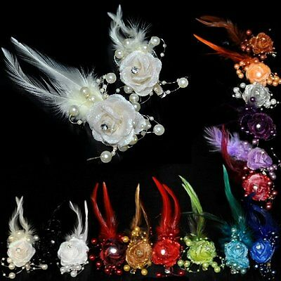 Hair Clip Flower Beads Bouquet Feathers Accessories Bride Wedding Many Colours