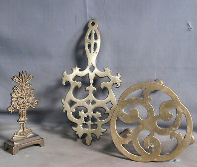 2 Antique Brass Trivet Irish Kettle Stand Footman Hearth Gilt Floral Garniture