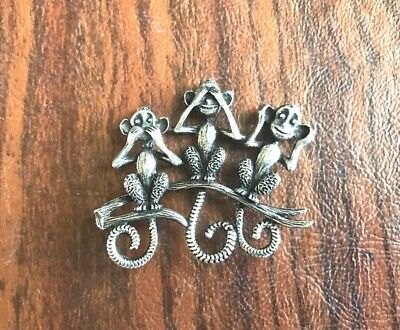Three Wise Monkeys Pewter PIN - See No Evil, Hear No Evil, Speak No Evil. New.