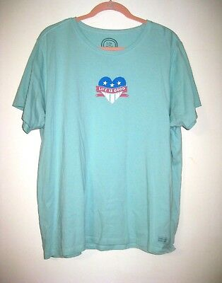 Life Is Good T-Shirt Ladies  XL Lt Blue Heart Stars Stripes Patriotic Short Slv