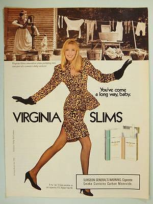 1988 Virginia Slims Cigarettes  Vintage Ad Page - Sexy Model - Doing the Laundry