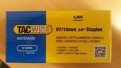 Tacwise code 0302. 97B/10 , 21 gauge, galvanised Staples, 10mm length.