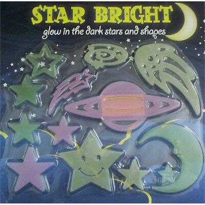 24 ASSORTED SPACE GLOW IN THE DARK STARS MOONS WITH ADHESIVE BACK TY//5903
