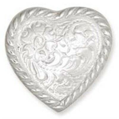 """1"""" Silver High Sierra Heart Concho With Screwback - 1 Plate Leather Decorative"""