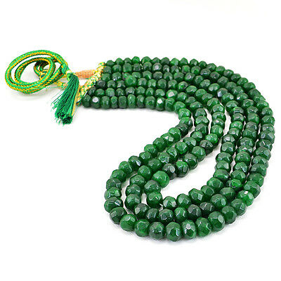 RS 242.90 CTS NATURAL 2 STRAND RICH GREEN EMERALD ROUND FACETED BEADS NECKLACE