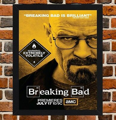 FRAMED BREAKING BAD Walter White TV Poster A4 / A3 Size In Black ...