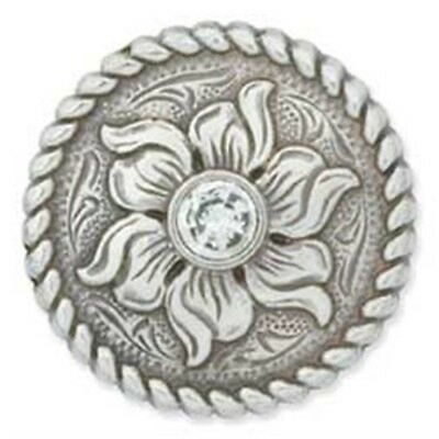 "1"" Crystal Flower Screwback Concho - Antique Silver"