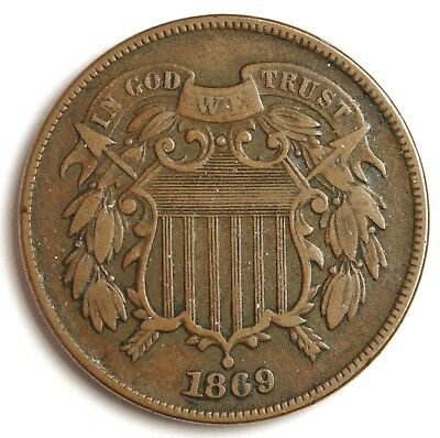 1869 Two Cent Piece.   X.F.  122772