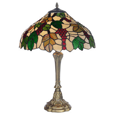 """Tiffany Style 12"""" Handley Antique Brass Look Table Lamp & Glass Shade"""