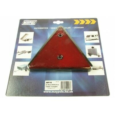 Pack Of 2 Rear Reflective Trailer Triangles - Maypole Reflector Red x 016