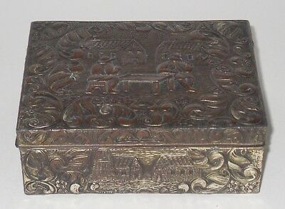 Vintage Metal Trinket Box with hinged lid and wood Lining, Made In Japan.