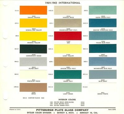 1964 1965 International Scout Travelall Panel Pickup Truck  Paint Chips (Ppg)