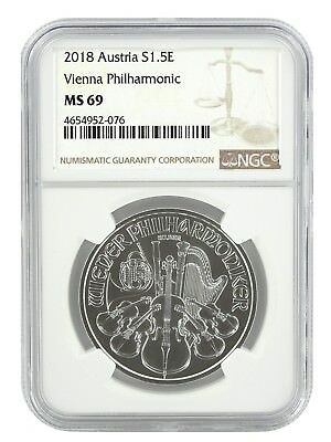 2018 Austria 1oz Silver Vienna Philharmonic Coin NGC MS69 - Brown Label