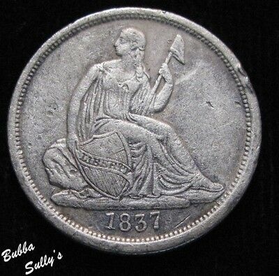 1837 Seated Liberty Dime <> Large Date <> VERY FINE