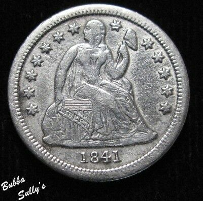 1841 Drapery Seated Liberty Dime <> VF Details