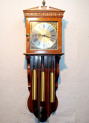 Old Wall Clock in Oak Wood with 3 Weights Westminster *Western Germany*