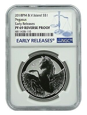 2018 British Virgin Islands 1oz Silver Reverse Proof Pegasus NGC PF69 ER