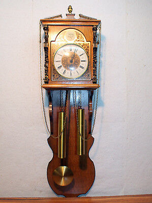 Old Wall Clock in Oak Wood with 2 Weights *Tempus Fugit*