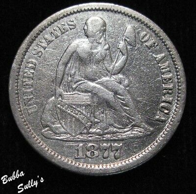 1877 CC Seated Liberty Dime <> VF Details
