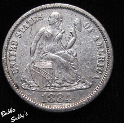 1884 Seated Liberty Dime <> XF Details