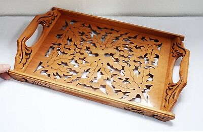 Lovely Ornate Foliage Pierced Light Wooden Serving Tray - 40 x 25cms. Woodenware
