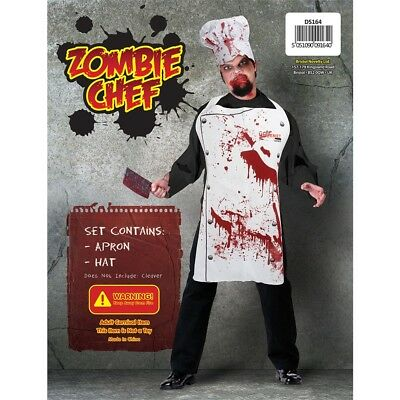Chef Set Bloody Hat Apron Sleeve Zombie Halloween Adults Fancy Dress Costume
