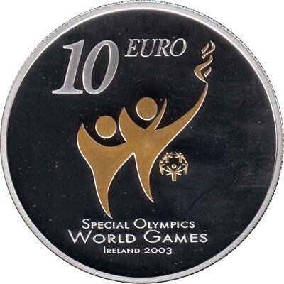 Irland 10 Euro 2003 PP Special Olympics Silber gilded*