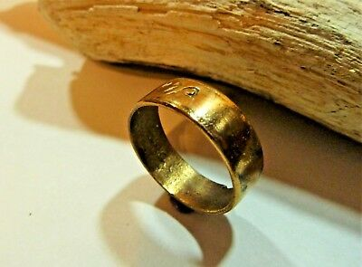 Old polished bronze  wedding ring (279).
