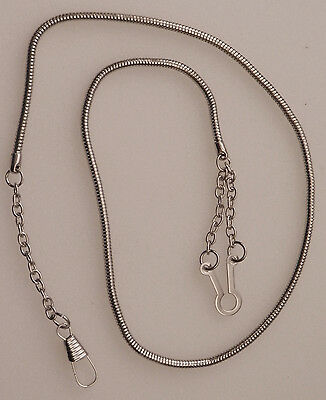 WHISTLE CHAIN Silver-tone with button style hook-nickel police/sheriff/security