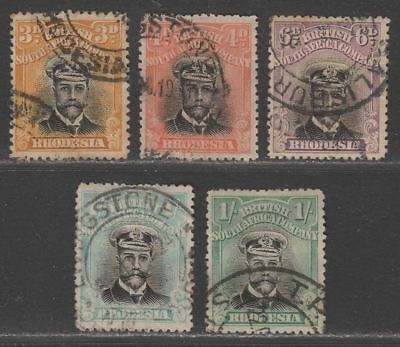 Rhodesia 1913-22 KGV Admiral perf 14 Selection to 1sh Used