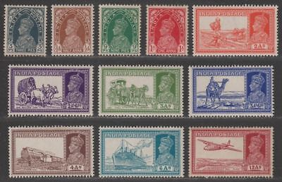 India 1937 King George VI Part Set to 12a Mostly Mint