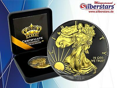 1 OZ Silber Eagle USA 1 USD 2018  Gold Black Empire Edition