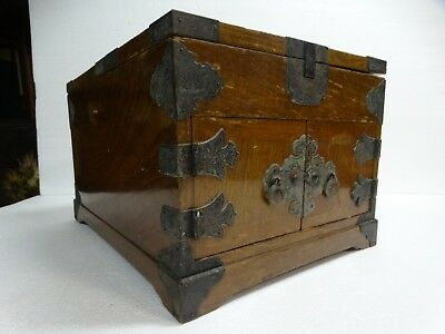 Antique Vintage Chinese  Wood Jewelry Storage Box Chest Organizer With Mirror