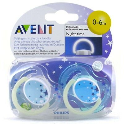 0-6 Months Nighttime Avent Silicone Soothers - Night Time Glow Dark 06m Philips