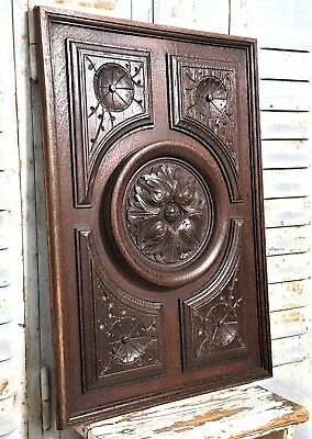 Hand Carved Wood Panel Antique French Gotic Rosace Architectural Salvage Carving